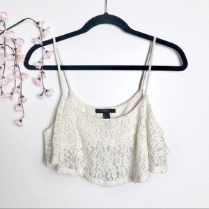 Forever 21 Strappy Off White Lace Crop Bandeau Top